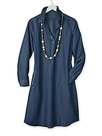 Women's Tencel Pullover Shirt Dress