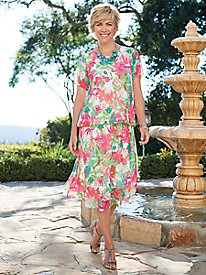 Women's Watercolor Floral 2-pc. Dress
