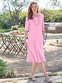 Women's Square Neck & Flare Knit Dress