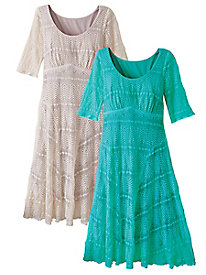 Women's Stretch Knit Lace Dress