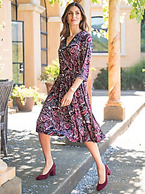 Women's Pretty in Paisley Wrap-Style Dress