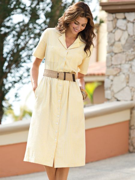 Women S Seersucker Dress Norm Thompson