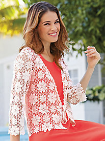 Crochet Jacket with Tie Front