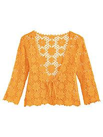 Crochet Jacket with Tie Front