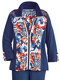 Costa Allegra Geo Floral Jacket By Alfred Dunner®