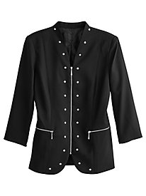 Open-Front Jacket with Studs