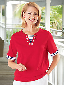 Vicki Wayne® Nautical Knit T-Top