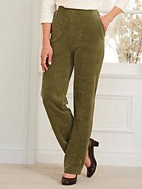 Flat-Front Knit Corduroy Pants