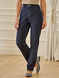 Stretch Denim Jeans with Embroidery