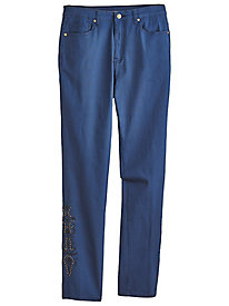 Embroidered Five-Pocket Stretch Jeans