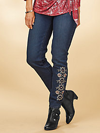 Tribal Embroidered Stretch Jeans By Isabel Hayley