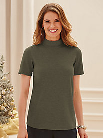 Tagless Short Sleeve Mock Turtleneck