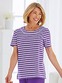 Knit Active Triple Stripe Tee By Koret® by Old Pueblo Traders