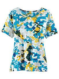 Printed Knit Floral Tee