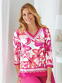 Tropical Punch Floral Border Tee By Alfred Dunner®