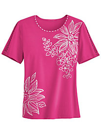 Tropical Punch Appliqué Tee By Alfred Dunner®