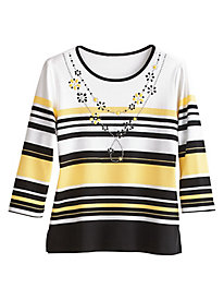 City Life Style Striped Top By Alfred Dunner®