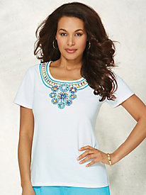 Short-Sleeve Embellished Top By Regalia®