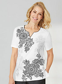 Garden Party Scroll Floral Tee By Alfred Dunner®