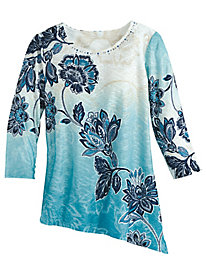 Batik Floral Knit Top By Alfred Dunner®