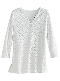 Lace Texture Knit Top By Alfred Dunner®