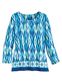 Ikat Border Knit Top By Alfred Dunner®