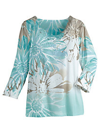 Floral Knit Top By Alfred Dunner®