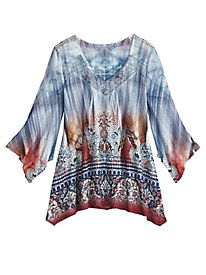 Angel-Sleeve Knit Top by One World
