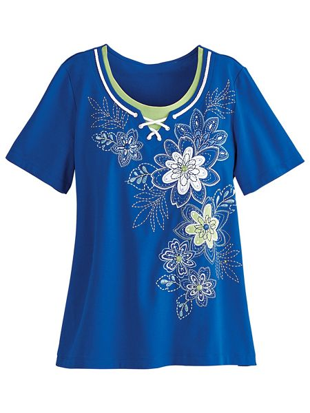 Corsica floral embroidered top by alfred dunner old