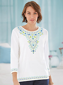 Corsica Embroidered Knit Top By Alfred Dunner®