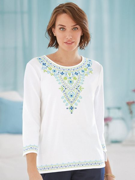 Corsica embroidered knit top by alfred dunner old