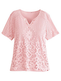Botanical Gardens Lace Knit Top By Alfred Dunner®