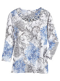 Long Weekend Scroll Print Top By Alfred Dunner®