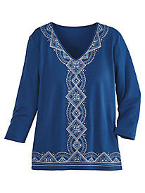 Arizona Sky Embroidered Knit Top By Alfred Dunner®