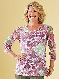 Patchwork Print Top By Alfred Dunner®