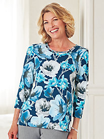 Arizona Sky Floral Knit Top By Alfred Dunner®