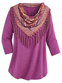 Scoop Neck Tee With FREE Scarf