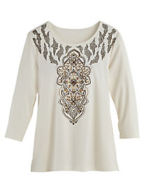 Jungle Love Embroidered Top By Alfred Dunner®