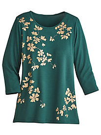 Emerald Isle Metallic Leaf Top by Alfred Dunner®