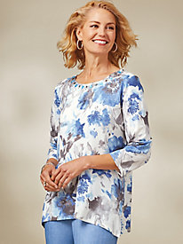 Silver Belles Floral Knit Top By Alfred Dunner®