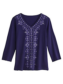 Alfred Dunner® Family Jewels Embroidered Top