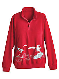 Alfred Dunner® Surfing Santa Fleece Top