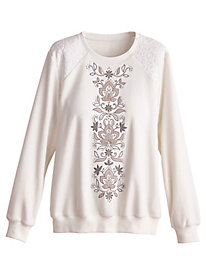 Alfred Dunner® Eskimo Kiss Embroidered Fleece Top