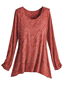 Long-Sleeve Embellished Knit Top
