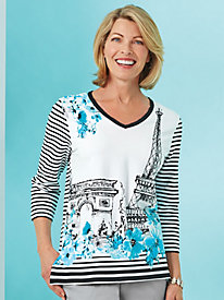 Play Date Eiffel Tower Print Top By Alfred Dunner®