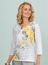 Charleston Floral Print Top By Alfred Dunner®