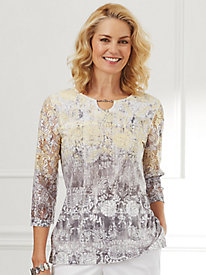 Charleston Floral Scroll Top By Alfred Dunner®