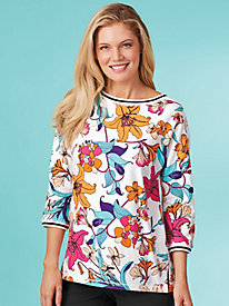 Tropical Twist Floral Print Top By Ruby Rd.®