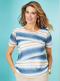Blues Traveler Stripe Top By Alfred Dunner®