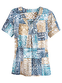 Blues Traveler Patchwork Top By Alfred Dunner®
